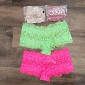 NWT Victoria's Secret Lace Boy Short Panty Bundle